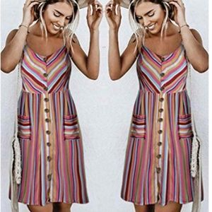 Women's Dresses-Summer Button Down Swing Midi Dres